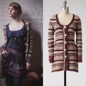 Anthro Striped Chunky Knit Wool Cardigan Sweater S